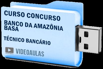 Curso Concurso Vídeo Aulas Banco da Amazônia BASA Técnico Bancário Pendrive 2018